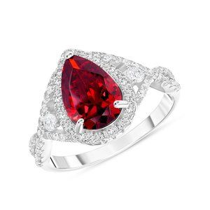 Jewelry - 925 SILVER CZ RUBY CENTER STONE RING